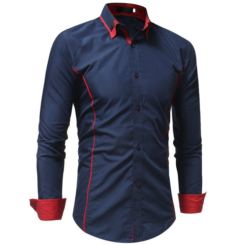 Men's Casual Fashion Slim Long Sleeve Shirt - CADETBLUE XL