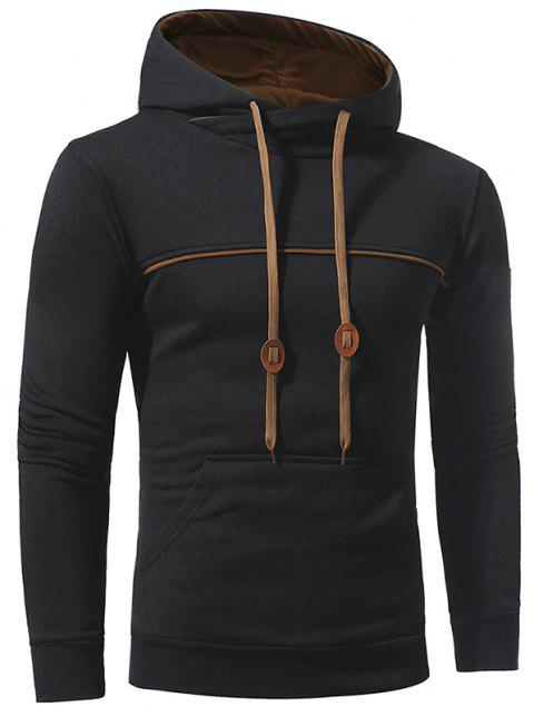 Men's Casual Fashion Slim Hooded Long-Sleeved Sweater - BLACK 3XL