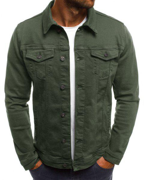Men's Casual Slim Short Jacket - ARMY GREEN 3XL