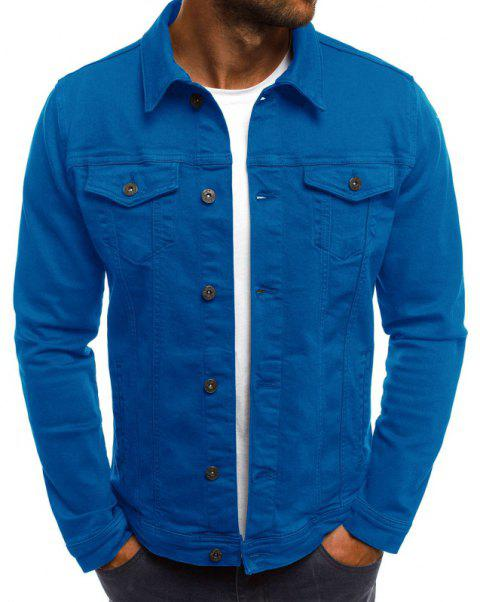 Men's Casual Slim Short Jacket - BLUE M