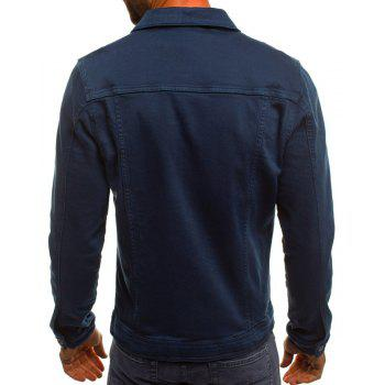 Men's Casual Slim Short Jacket - DEEP BLUE 2XL