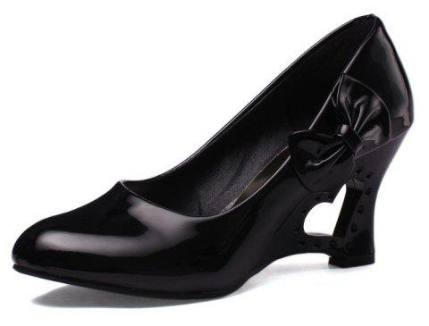 Bow with Hollow Slope Simple Set of Women Shoes - BLACK EU 36