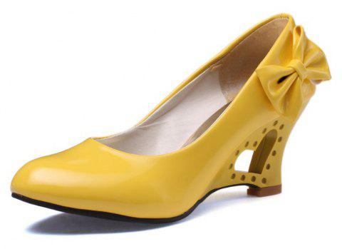 Bow with Hollow Slope Simple Set of Women Shoes - YELLOW EU 36