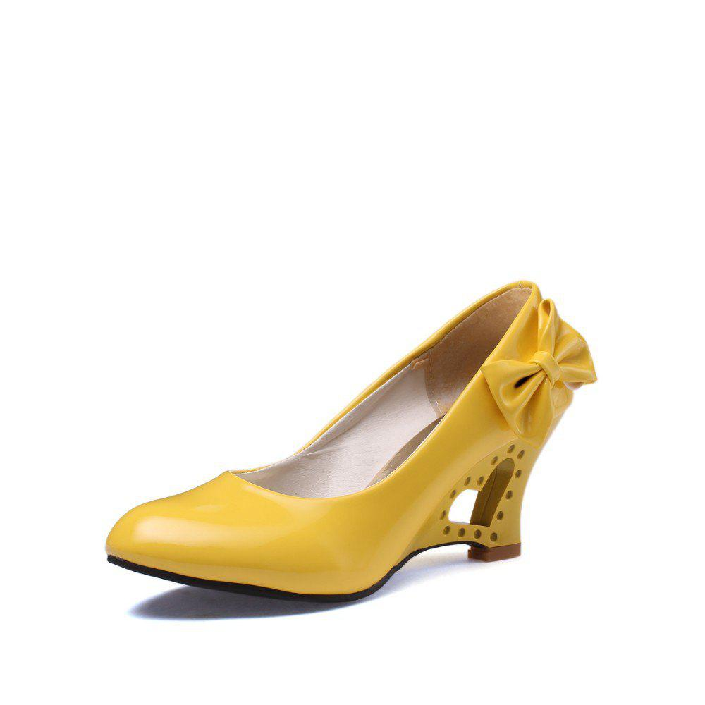 Bow with Hollow Slope Simple Set of Women Shoes
