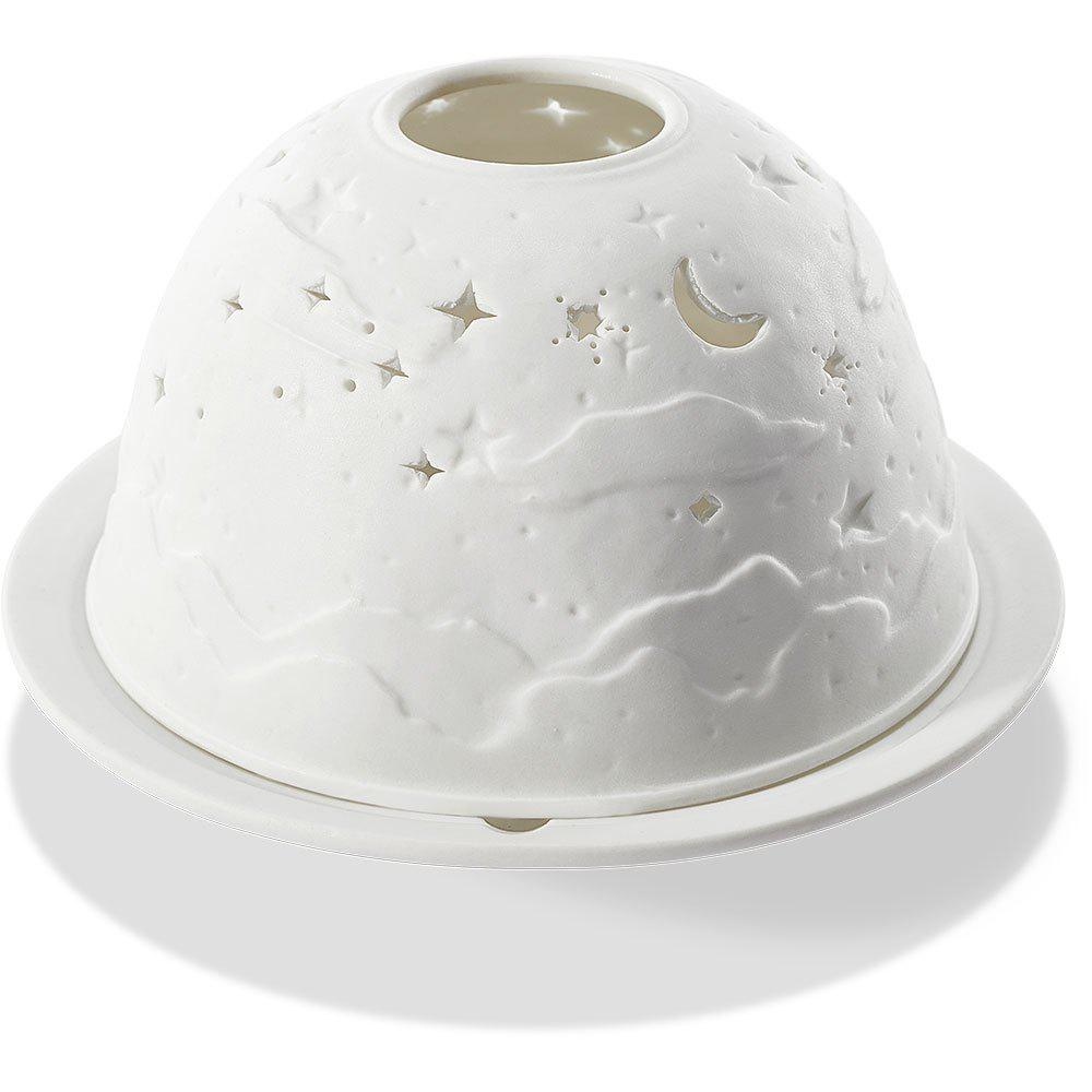 Stars and Moon Relief Ceramic Candle Light Night Lamp - MILK WHITE