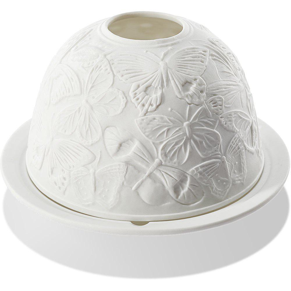 Butterfly Embossed Ceramic Candle Light Night Lamp - MILK WHITE