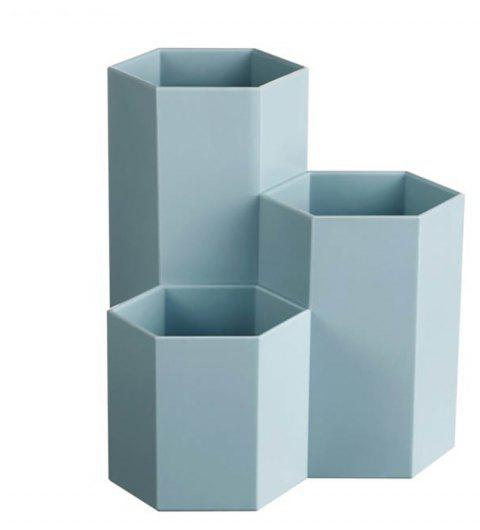 Creative Hexagon Stationery and Cosmetic Storage Box - BABY BLUE 11*11*12CM