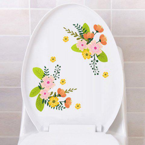 Coloured Flowers Toilet Fridge Wall Stickers - multicolor
