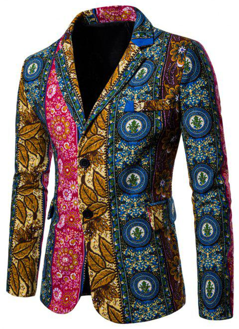 Men's Long Sleeves Out Large Size Ethnic Style Print Blazer - multicolor F 2XL