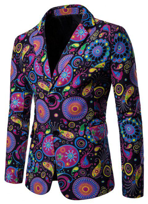 Men's Long Sleeves Out Large Size Ethnic Style Print Blazer - multicolor J 2XL