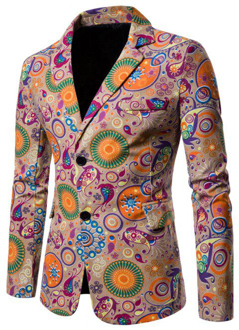 Men's Long Sleeves Out Large Size Ethnic Style Print Blazer - multicolor G L