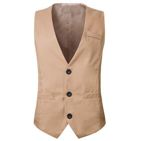 Men's  Fashion Casual Suit Vest - LIGHT KHAKI 2XL