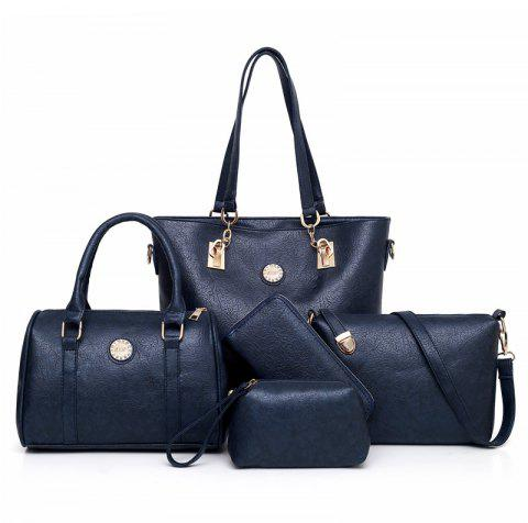 5Pcs Solid Color Pleated  Bag Handbag - BLUE