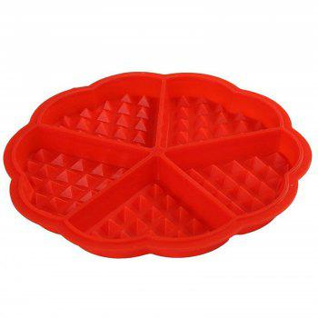 Silicone Waffle Baking Mold Heart Cake Muffin Mould Red Bakeware Kitchen Tool - RED