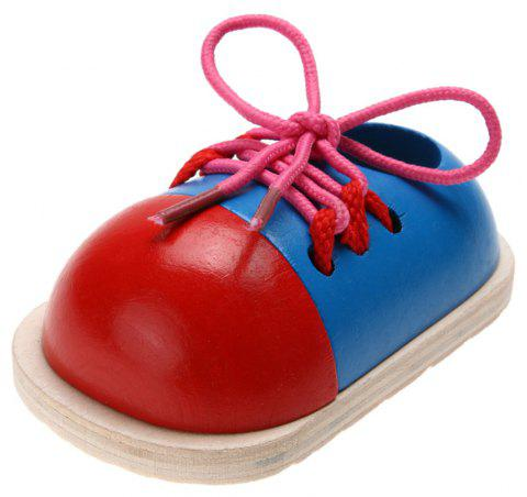 1Pcs Kids Educational Wooden Tie Lacing Shoes Early Learning Toys - multicolor