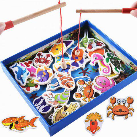 Fishes Basic Educational Development Wooden Magnetic Bath Toys Gift - multicolor