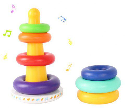 Rainbow Stacking Tower with Music Tumbler Plastic Ring Educational Sensory Toys - multicolor
