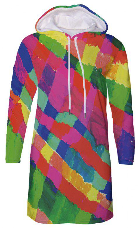 Colorful Striped Print Casual Women's Hooded Dress - multicolor C M