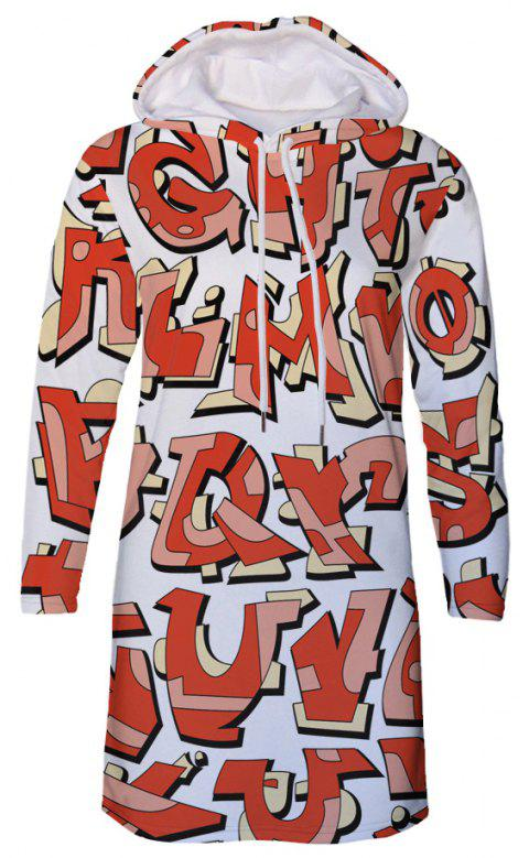Letter Print Women's Hooded Dress - multicolor A L