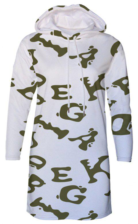Letter Print Women's Hooded Dress - multicolor B L