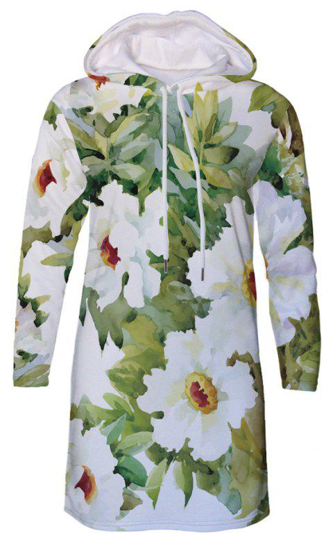 Sketch Flower Print Women's Hooded Dress - multicolor B M