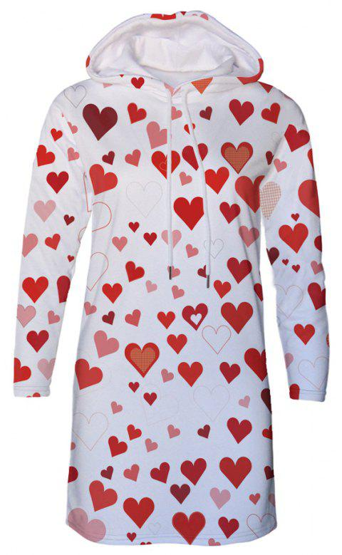 Love Pattern Print Women's Hooded Dress - multicolor A M