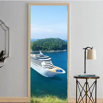 MailingArt 3D HD Canvas Print Door Wall Sticker Mural Home Decor Cruise Ship - multicolor 77 X 200CM