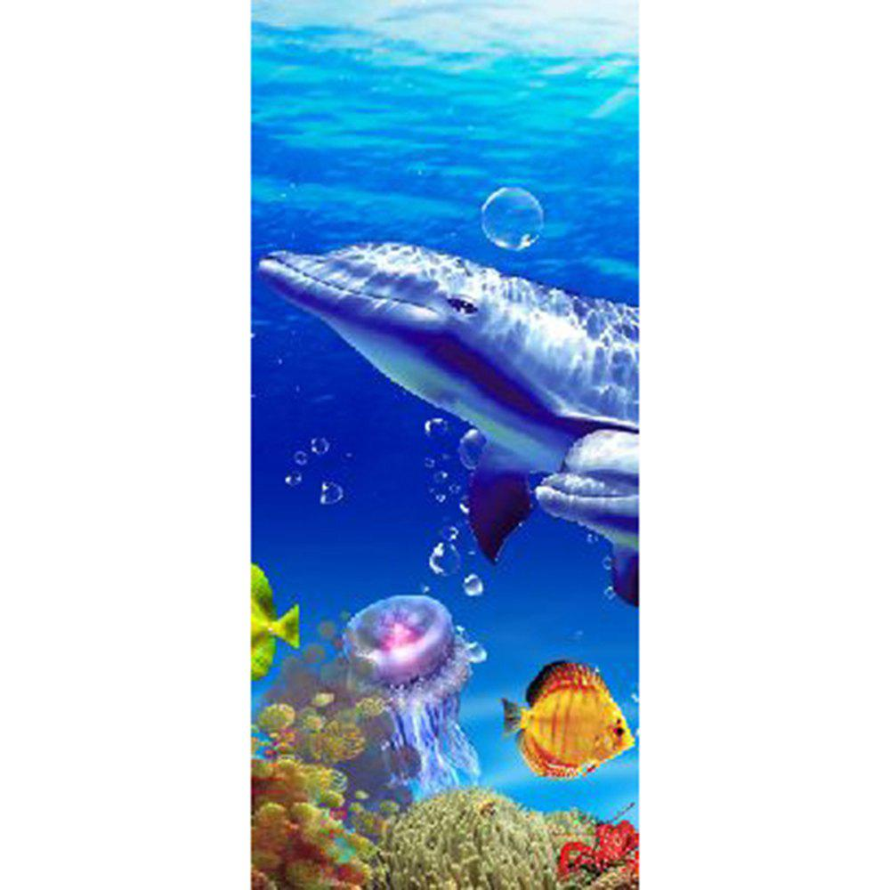 MailingArt 3D HD Canvas Print Door Wall Sticker Mural Home Decoration Dolphins - multicolor 77 X 200CM