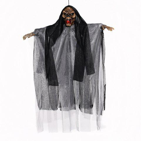 Halloween Decoration Electric Sound Control Hanging Ghost Horror Tricky Toy - multicolor C