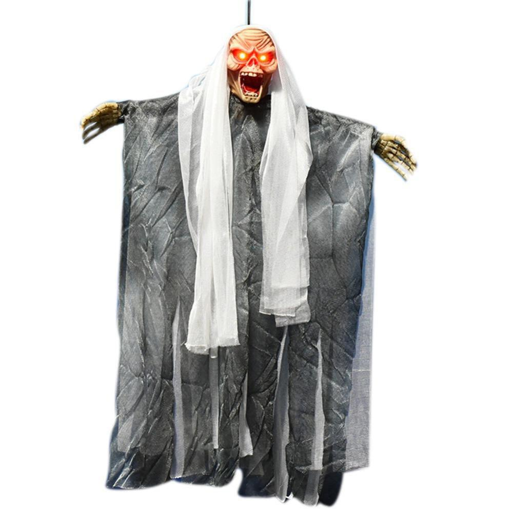Halloween Decoration Electric Sound Control Hanging Ghost Horror Tricky Toy - multicolor A