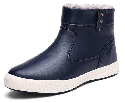 Men's Comfortable  Fashion Casual  Warm  Leather Snow Boots - DENIM DARK BLUE EU 41