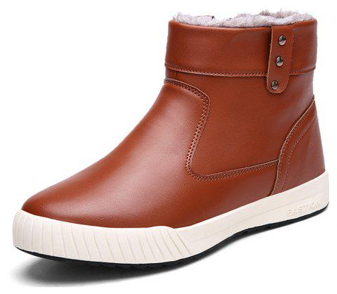 Men's Comfortable  Fashion Casual  Warm  Leather Snow Boots - CHESTNUT RED EU 42