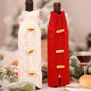 Christmas Decorations Knitted Wine Bottle Cover - RED 29*9*9CM