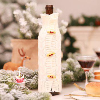 Christmas Decorations Knitted Wine Bottle Cover - WHITE 29*9*9CM