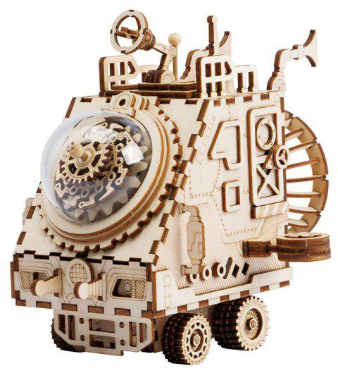Robotime DIY Wooden Assembled Music Box Puzzle Toy Space Exploration Vehicle - TAN SET