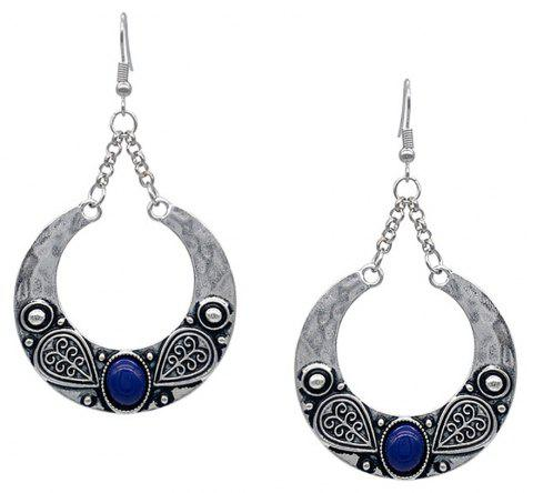 Bohemian Carved Artificial Gemstone Antique Silver Accessory - BLUE