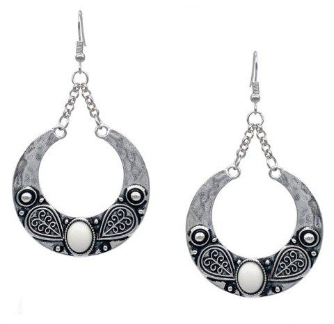 Bohemian Carved Artificial Gemstone Antique Silver Accessory - WHITE