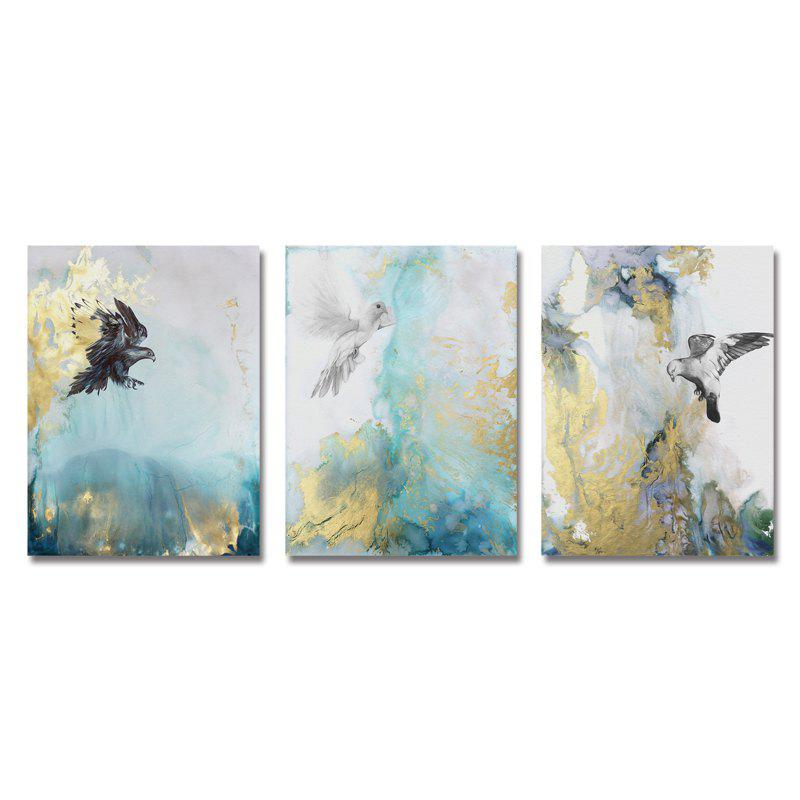 DYC 3PCS Abstract Texture Flying Birds Print Art - multicolor