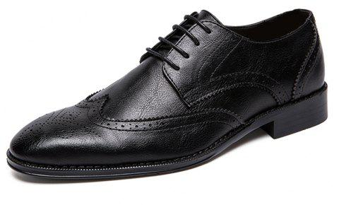 Men Fashion Plus Size Brogue Lace-Up Leather Shoes - BLACK EU 44