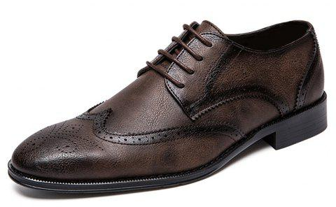 Men Fashion Plus Size Brogue Lace-Up Leather Shoes - BROWN EU 47