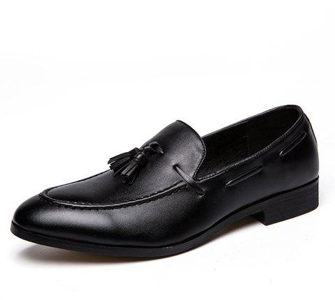 Men Solid Fringe Gentle Slip-On Leather Shoes - BLACK EU 39