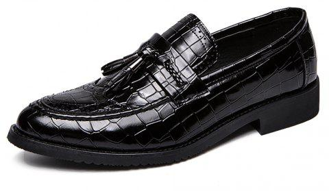 Men Fringe Shining Upper Slip-on Stylish Leather Shoes - BLACK EU 40
