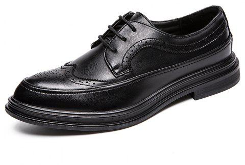 Men Brogue Solid Lace-up Leather Shoes - BLACK EU 42