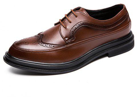 Men Brogue Solid Lace-up Leather Shoes - BROWN EU 38