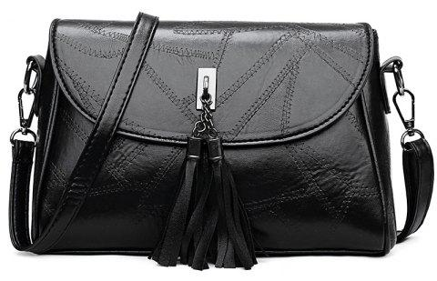 Fashion Tassel Small Square Messenger Bag - BLACK
