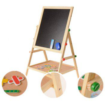 Solid Wood Double-Sided Magnetic Children'S Drawing Board Easel - multicolor