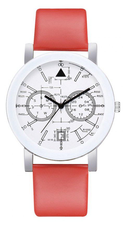 P670 Women Digital Art Student Leather Watch - RED