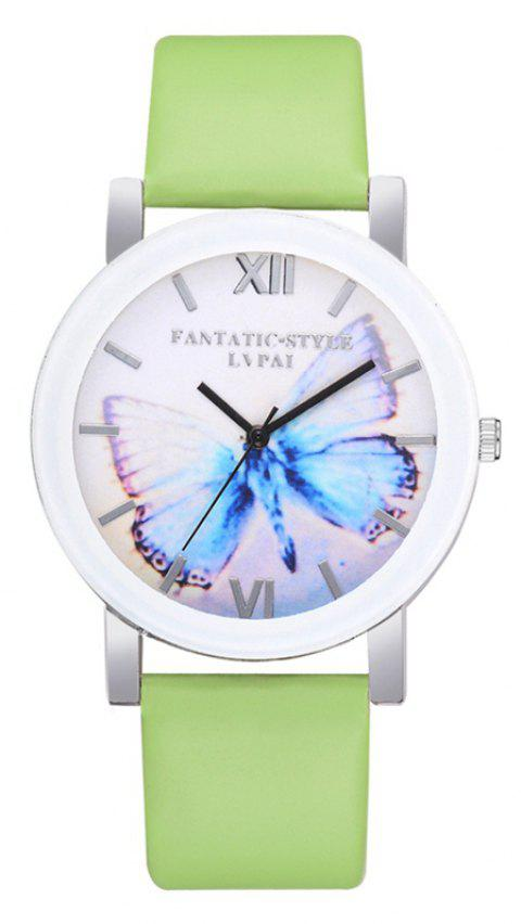 P672 Big Butterfly Mirror Student Watch - GREEN