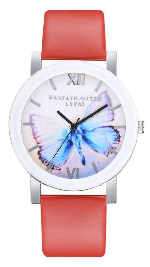 P672 Big Butterfly Mirror Student Watch - RED