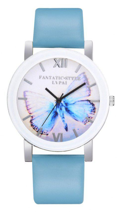 P672 Big Butterfly Mirror Student Watch - SKY BLUE